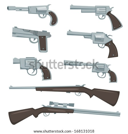 Cartoon Guns, Revolver And Rifles Set/ Illustration of a collection of cartoon silver guns, police and caliber, revolver, pistol and hunting or sniper rifles - stock vector