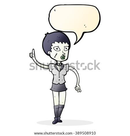 cartoon halloween girl with speech bubble - stock vector