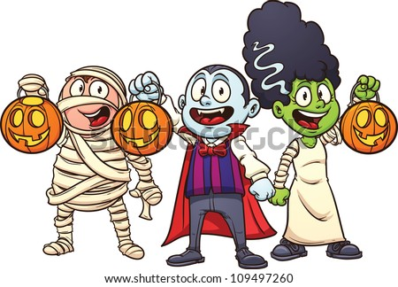 Cartoon Halloween kids trick or treating. Vector illustration with simple gradients. Each in a separate layer for easy editing. - stock vector