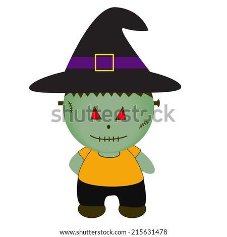 Cartoon Halloween Monster. Witch - stock vector