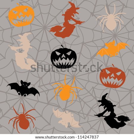 Cartoon Halloween seamless background with colorful figures