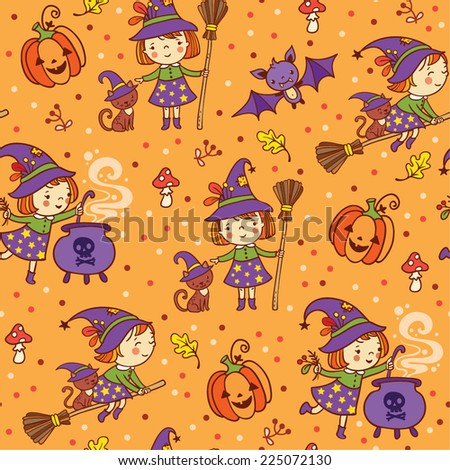 Cartoon Halloween seamless pattern with  funny witches, pumpkin, cat, bat, amanita. - stock vector