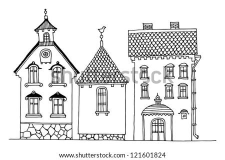 Cartoon hand drawing houses - stock vector
