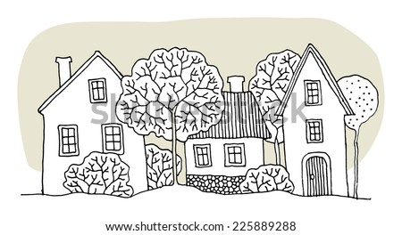 Cartoon hand drawing houses