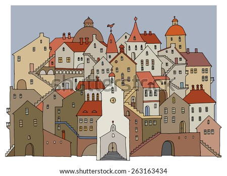 Cartoon hand drawing houses, color illustration - stock vector