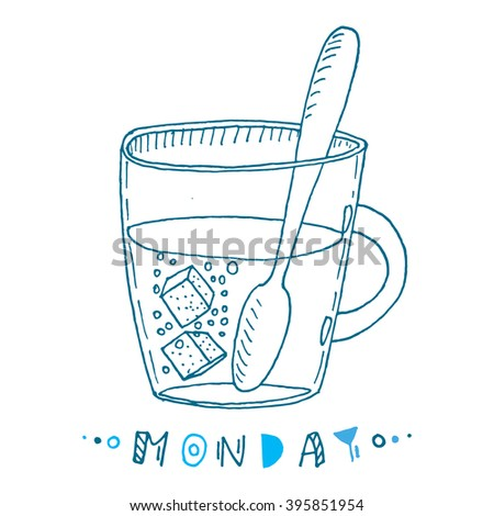 Cartoon hand drawn cup of tea with sugar cubes. Vector sketch illustration