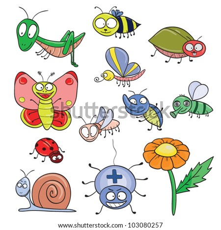 Cartoon hand-drawn cute insects set. Vector illustration.