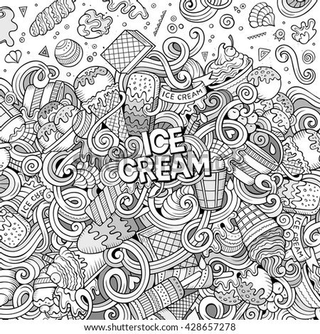 Cartoon hand-drawn doodles Ice Cream illustration. Line art detailed, with lots of objects vector design background - stock vector