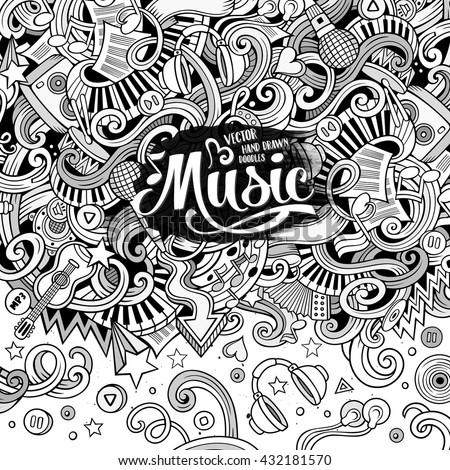 Cartoon hand-drawn doodles Musical illustration. Sketchy line art detailed, with lots of objects vector background - stock vector