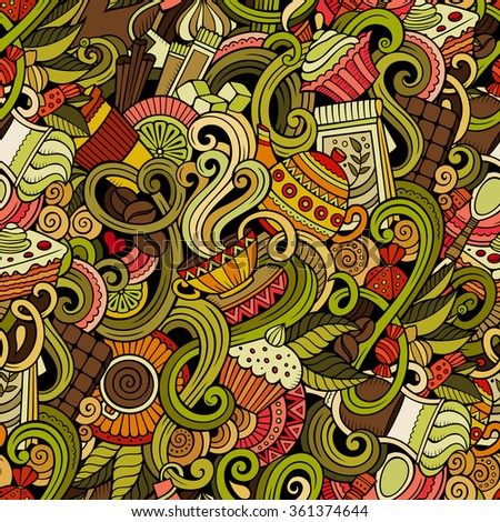 Cartoon hand-drawn doodles on the subject of cafe, coffee shop theme seamless pattern. Colorful detailed, with lots of objects vector background - stock vector