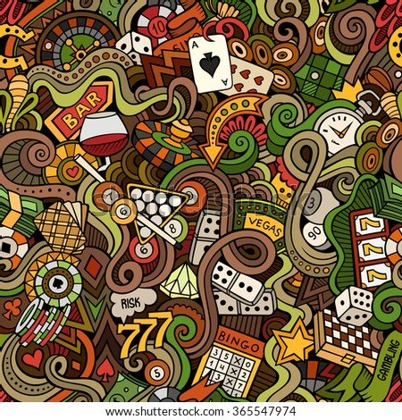 Cartoon hand-drawn doodles on the subject of casino style theme seamless pattern. Vector color background - stock vector
