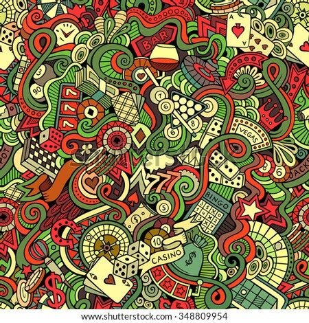 Cartoon hand-drawn doodles on the subject of casino style theme seamless pattern. Vector colorful background