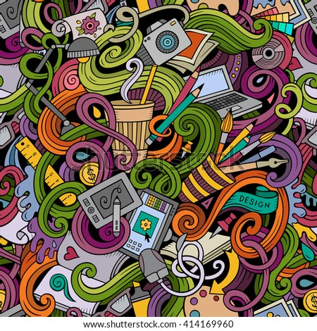 Cartoon hand-drawn doodles on the subject of Design and art theme seamless pattern. Colorful detailed, with lots of objects vector background