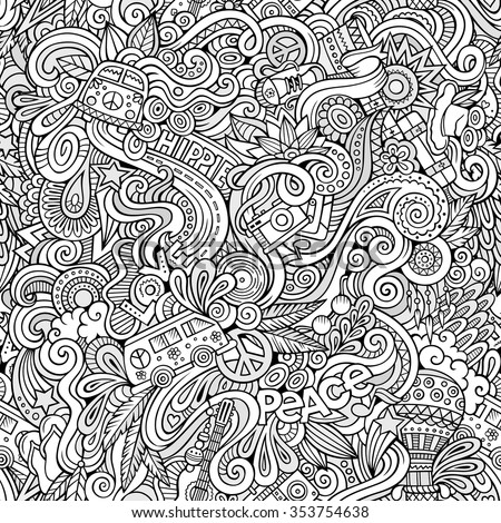 Cartoon hand-drawn Doodles on the subject of Hippie style theme seamless pattern. Sketchy vector background - stock vector