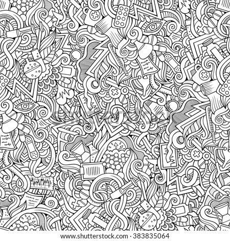 Cartoon hand-drawn doodles on the subject of medical theme seamless pattern. Line art sketchy detailed, with lots of objects vector background - stock vector