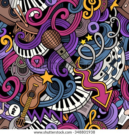 Cartoon hand-drawn doodles on the subject of music style theme seamless pattern. Vector colorful background - stock vector