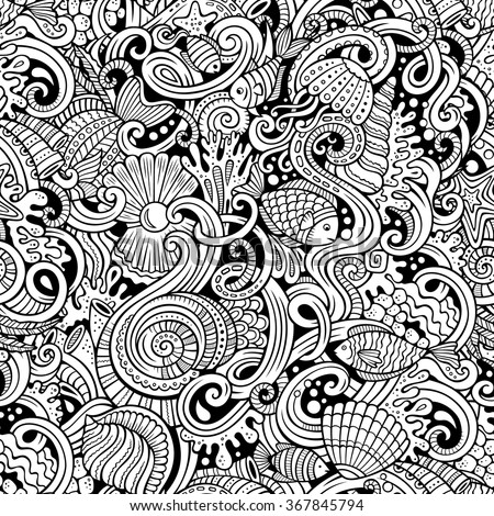Cartoon hand-drawn doodles on the subject of under water life theme seamless pattern. Line art detailed, with lots of objects vector background - stock vector