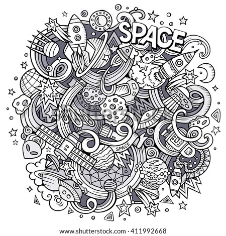 Cartoon hand-drawn doodles sketchy Space illustration. Line art space detailed sketch, with lots of objects vector background. Space doodle. - stock vector