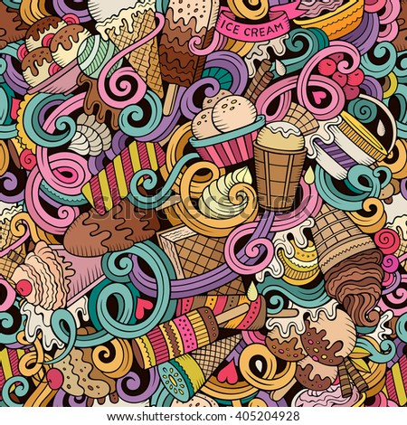 Cartoon hand-drawn ice cream doodles seamless pattern. Colorful detailed, with lots of objects vector background - stock vector
