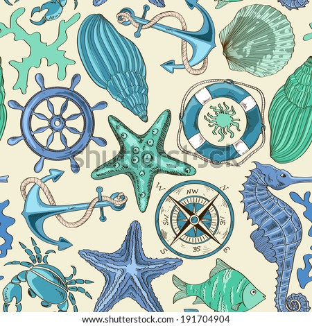 cartoon hand drawn seamless pattern of sea animals and nautical elements - stock vector