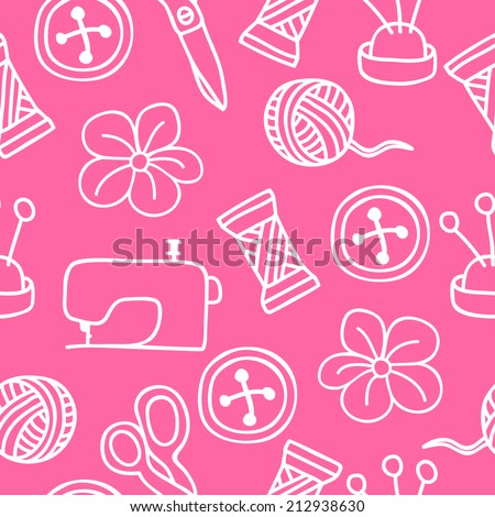 Cartoon Hand Drawn Seamless Pattern with Sewing and Tailoring Elements. Vector Illustration - stock vector