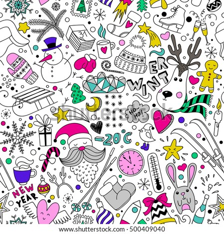 Cartoon hand drawn seamless vector pattern with doodle winter icons items. Vector  background with cute elements. Funny children drawing. New year wallpaper, cloth design, fabric, textile, backdrop