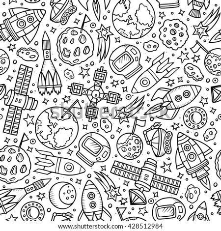 Cartoon hand drawn space seamless pattern. Lots of symbols, objects and elements. Perfect funny vector background. - stock vector