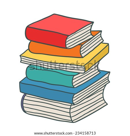 cartoon hand drawn stack books stock vector 234158713 shutterstock rh shutterstock com Stack of Books Drawing cartoon picture of stack of books