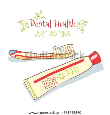 cartoon hand drawn toothpaste and toothbrush on white background - stock vector