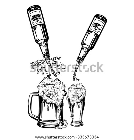 cartoon, hand drawn, vector, sketch, illustration of Beer pouring from bottles in glass and mug - stock vector