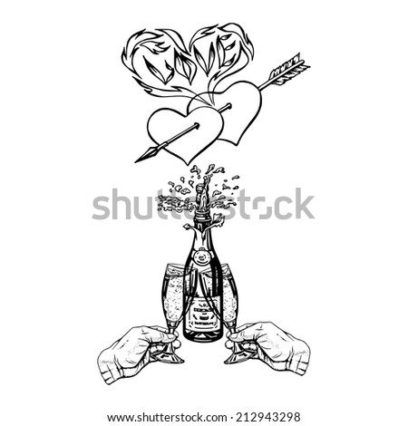 cartoon, hand drawn, vector, sketch, illustration of mutual love
