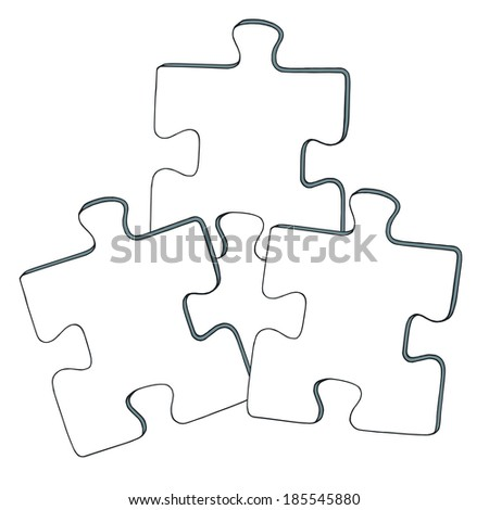 cartoon, hand drawn, vector, sketch, illustration of puzzles - stock vector