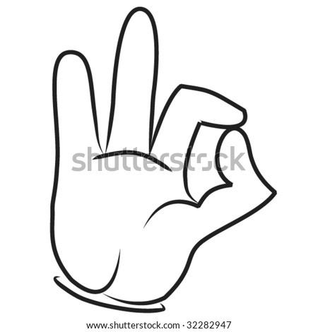 Cartoon hand - Ok gesture - stock vector