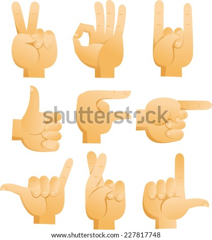 Cartoon Hand signs with sign of peace, ok sign, rock sign, luck finger sign, pointing hand, good sign. Vector illustration cartoon.  - stock vector