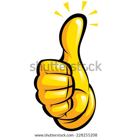 Cartoon hand with yellow glove in a thumb up gesture with black outlines - stock vector