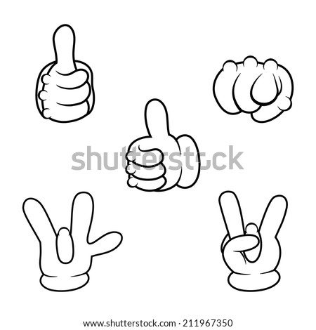 Cartoon hands sign collection. Vector illustration - stock vector