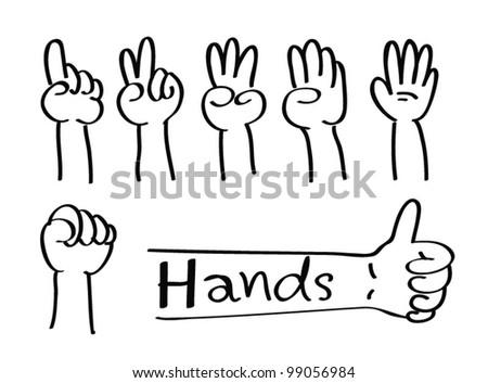 Cartoon Hands - Vector - stock vector