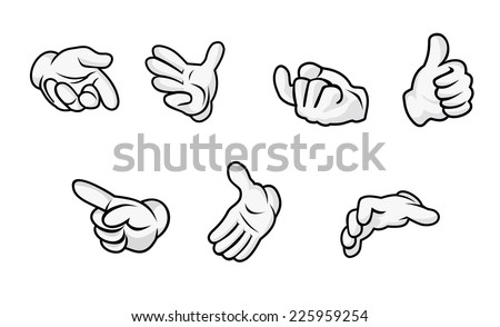 Cartoon hands with gestures isolated on white background. Vector illustration