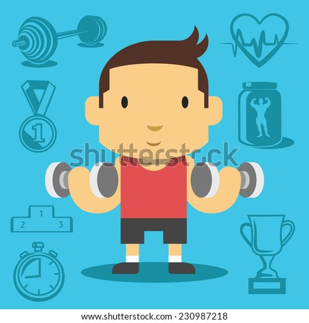 Cartoon handsome guy pumping biceps. Creative vector flat illustration. Cute mascot concept. Creative background with sport equipment icons, pictograms, symbols. Trendy style graphic design elements. - stock vector