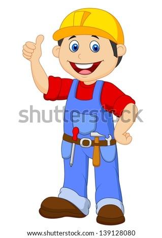Cartoon handyman with tools belt thumb up - stock vector