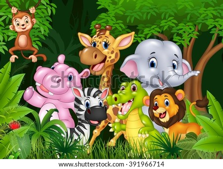 Cartoon happy animal collection in the jungle - stock vector