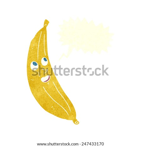 cartoon happy banana with speech bubble - stock vector