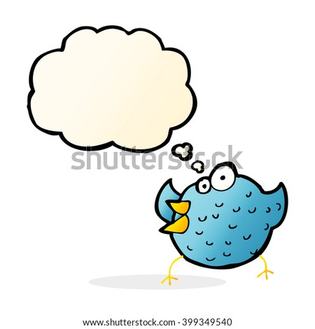 cartoon happy bird with thought bubble