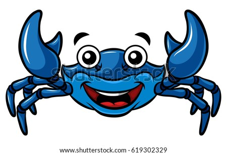 cartoon happy blue crab stock vector 619302329 shutterstock rh shutterstock com  maryland blue crab clipart
