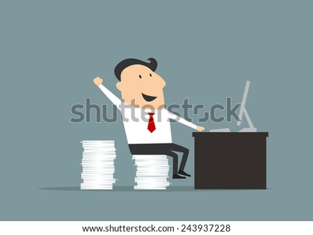 Cartoon happy businessman sitting on piled white papers at worktable with computer. Flat vector design - stock vector