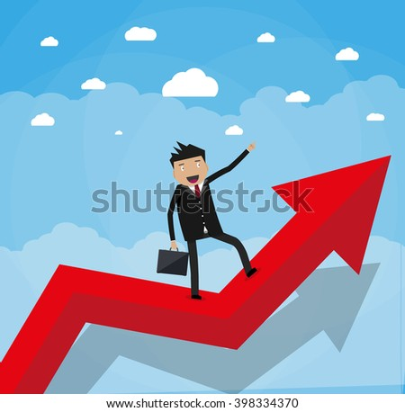 Cartoon happy businessman with breafcase standing on a graph soaring through the clouds and pointing his finger forward, Business Growth Concept. vector illustration in flat design. - stock vector