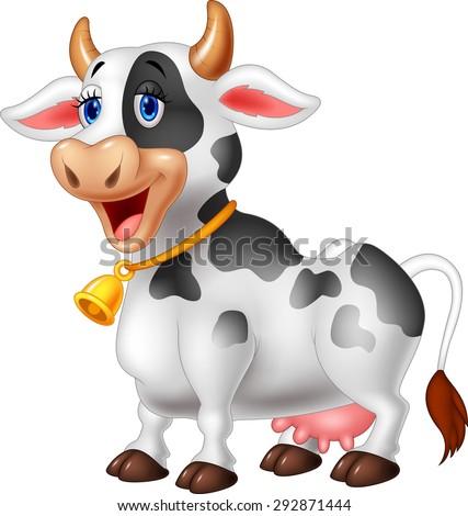 Cartoon Happy cartoon cow - stock vector