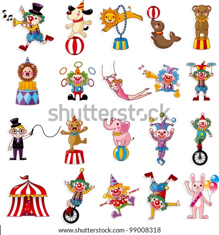 cartoon happy circus show icons collection - stock vector