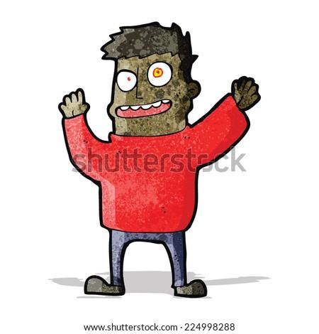 cartoon happy crazy man - stock vector