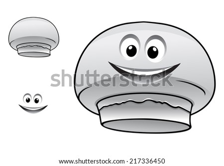 Cartoon happy cute champignon mushroom character with face, smiling mouth and eyes isolated on white background - stock vector